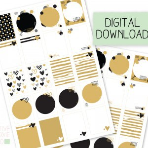 Black and Gold Printable Planner Stickers